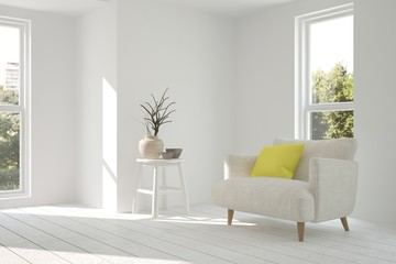 White minimalist room with armchair. Scandinavian interior design. 3D illustration