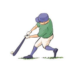 Baseball player hits the ball