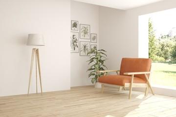 White minimalist room with orange armchair. Scandinavian interior design. 3D illustration