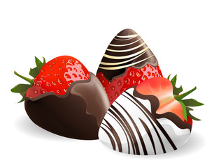 strawberry with chocolate dipping isolated on white background, vector illustration.