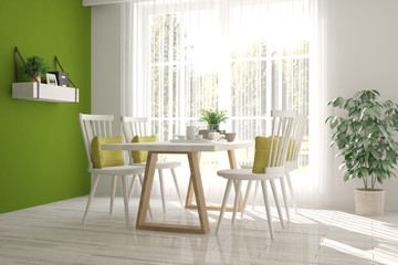Idea of white minimalist dinner room. Scandinavian interior design. 3D illustration