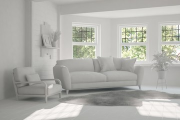 Idea of white room with sofa and green landscape in window. Scandinavian interior design. 3D illustration