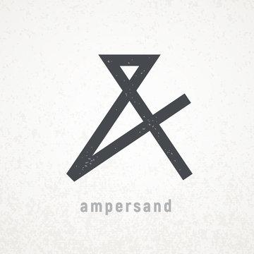 Ampersand. Elegant vector symbol on grunge background