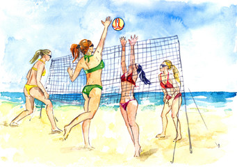 Sexy girls in bikini playing beach volleyball, sea and sand background, hand painted watercolor illustration