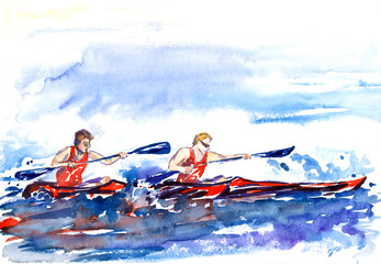 Rowing (crew), two athletes in canoe, splashed water background, hand painted watercolor illustration