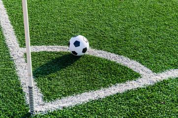 Soccer Football on Corner line for Corner kick.