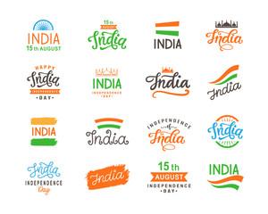 India independence day. Handmade lettering logo templates big set