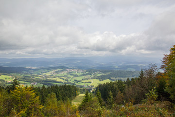 View over the bavarian forest with a cloudy sky