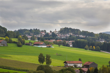 View towards a small town in the bavarian forest