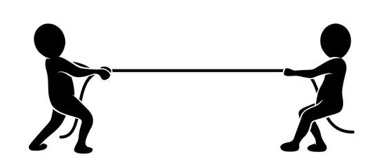 Konkurrenz: Zwei schwarze Männchen beim Tauziehen / schwarz-weiß, Vektor, flach, freigestellt