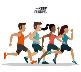 white background of poster keep running with male and female team of athletes