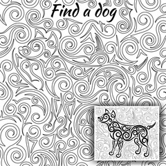Coloring design for antistress therapy with swirls and spirals. Task Find a dog hidden in the picture. Hint attached. Vector illustration.
