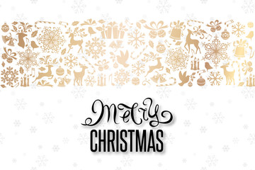 Christmas greeting card with golden ornamental border