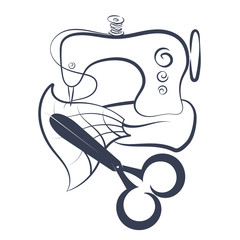 Sewing machine and scissors silhouette