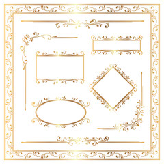 Golden ornamental decoration elements in classic style.