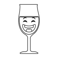 wine cup kawaii character vector illustration design