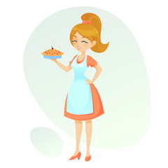 Vector cartoon illustration Friendly lady showing her home made pie retro cute woman holding a hot pie