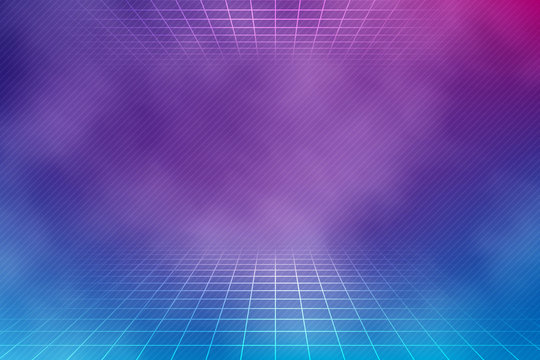 Retro neon background in pink and blue colors with smoke texture