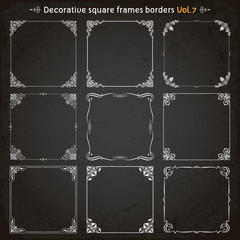 Decorative square frames and borders set 7 vector