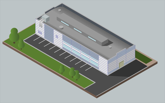 Warehouse Industrial building. Isolated vector 3D isometric concept