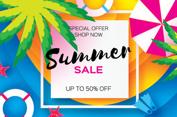 Summer Sale Template banner. Beach rest. Summer vacantion. Top view on colorful beach elements. Square frame with space for text. Paper art style. Vector