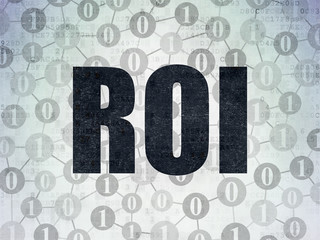 Finance concept: ROI on Digital Data Paper background