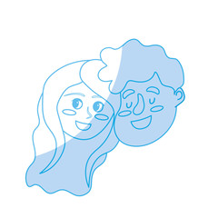 silhouette happy couple face with hairstyle design