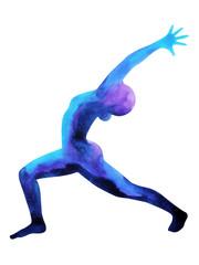 Warrior 1 Yoga Pose ( Virabhadrasana I ) position, watercolor painting, hand drawing, illustration design, chakra color power, clipping path