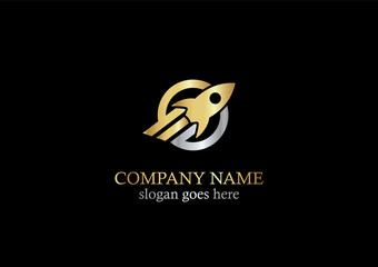 gold rocket vector logo