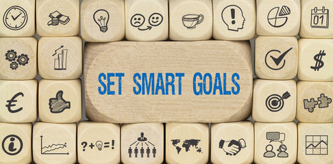 Set Smart Goals / Würfel mit Symbole