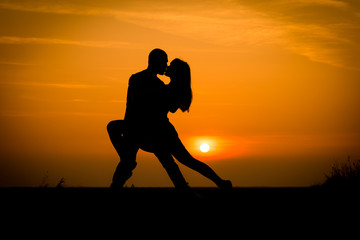 sunset silhouette, couple