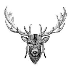 Deer Motorcycle, biker, aviator, fly club Illustration for tattoo, t-shirt, emblem, badge, logo, patch