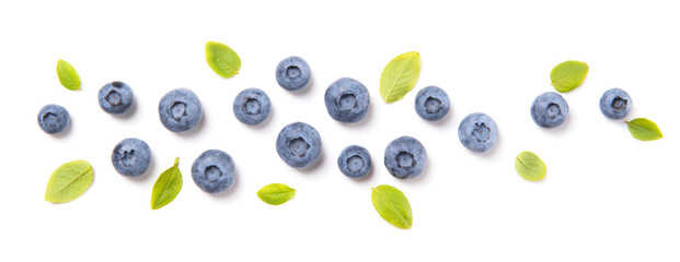 Fresh blueberries and leaves, berry ornament isolated on white background, top view