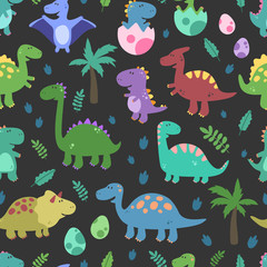 Seamless vector pattern with dinosaurs. Funny smiling dinosaurs, footprins, eggs, baby, palm. Cartoon background. Design elements
