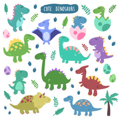 Cute vector set with dinosaurs. Funny smiling dinosaurs, footprins, eggs, baby, palm. Cartoon characters.  Design elements