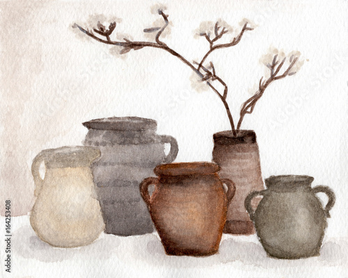 Brown Pottery Vase And Dried Flower Decorate In Vase Clay Pots