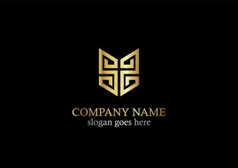 gold abstract line geometry logo