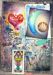 Astrologic graffiti,draws,scraps and collage with tarots,moon and red heart