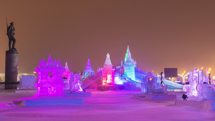 Christmas in Moscow. ice town in Victory Park