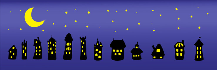 Collection of hand drawn simple vector doodles of cartoon black houses at night with brightly lit yellow windows under the moon and stars.