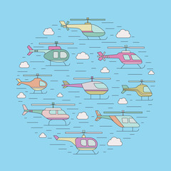 Helicopters in the sky outline circle vector illustration.