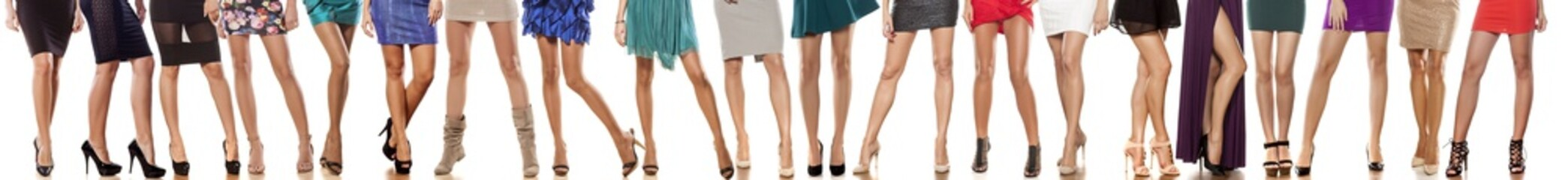 collage of female legs in short dresses