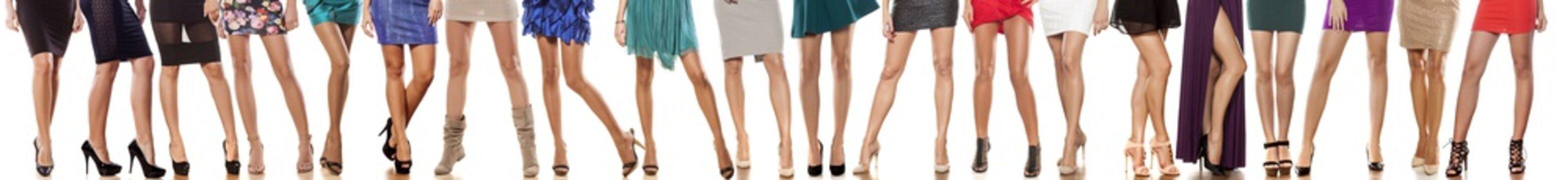 collage of female legs in short dresses
