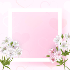 Beautiful square frame with flowers and pearls on black background for greeting card or invitation design.