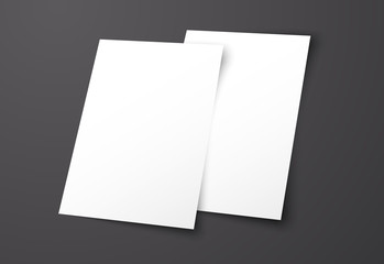 Templates of two white flyers on a black background.