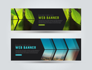 template of black horizontal web banners with arrows