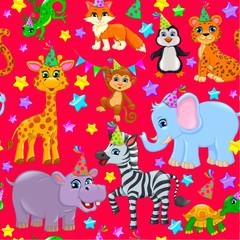 Seamless animal pattern stars birthday cone on red