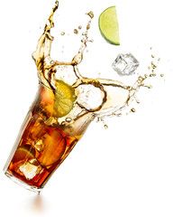 Wall Mural - cuba libre cocktail splashing isolated on white