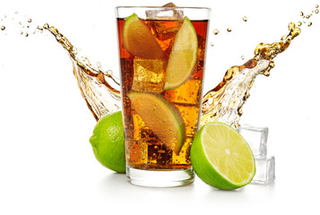 Wall Mural - cuba libre with flowing wave, lime fruit and ice cubes