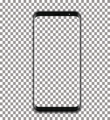 black phone vector with transparent screen on transparent background